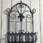 Ornate Fleur De Lis Wall Mounted Grey Metal Planter with Mirror 60 cm